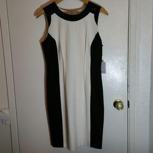 Calvin Klein sleeveless sheath colourblock dress